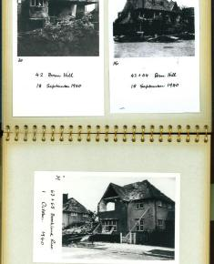 Page from inside an album of photographs showing air raid damage to Suburb houses after the Second World War